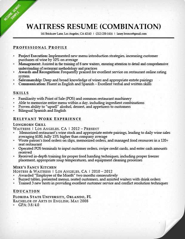 Waitress Resume Sample Monster Com Food Service Waitress Waiter Resume Samples Tips Resume Restaurant Resume Job Resume Samples Customer Service Resume