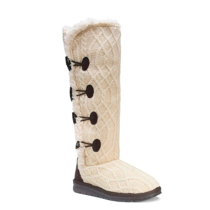 Women's Muk Luks Felicity Cable Knit Shearling Boots - White 10
