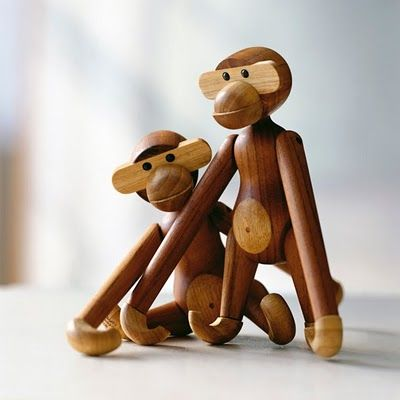 Kay Bojsen Monkey. Now being produced by Chinese woodturners due to a lack of skilled professional wood turners in Denmark. Read more about the skills and quality issues at SnOOp: Wooden Monkey, Bojesen Monkey, Wooden Toys, Children Toys, Kaj Bojesen, Danishes Design, Kay Bojesen, Products, Kids Toys