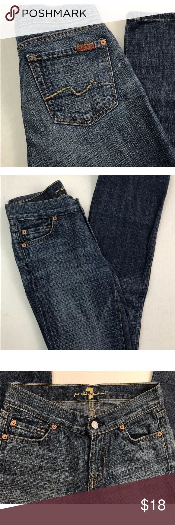 """7 For All Mankind Women's Bootcut Jeans Size 24 7 For All Mankind Women's Bootcut Jeans   Medium Wash   Size 24  Inseam 31""""  Waist 23 1/4"""" Low Hip 34 1/4"""" Thigh 20""""  Nice condition -- very minimal wear --- no fraying at hem --- see pics for details  Smoke-free home 7 For All Mankind Jeans"""