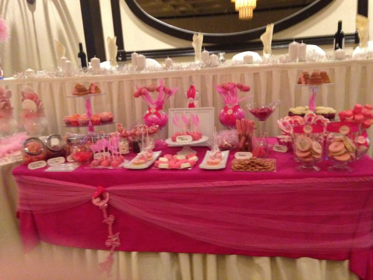 Pink candy bar for a baby girls baptism with mini cakes- cupcakes- cookies - cake pops - candy bar - pretzels