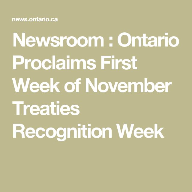 Newsroom : Ontario Proclaims First Week of November Treaties Recognition Week