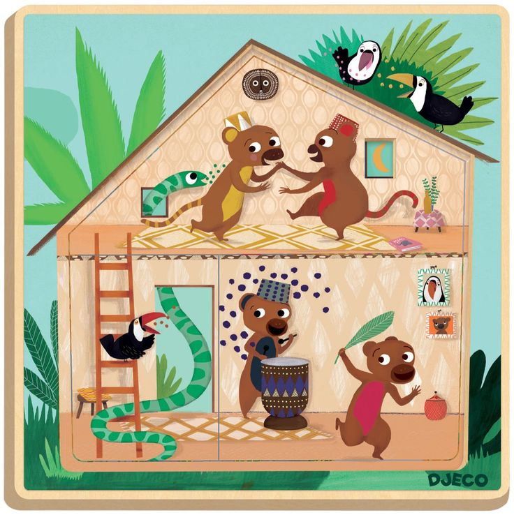 Djeco Cabana Wooden 3 Layer Puzzle - Free Shipping