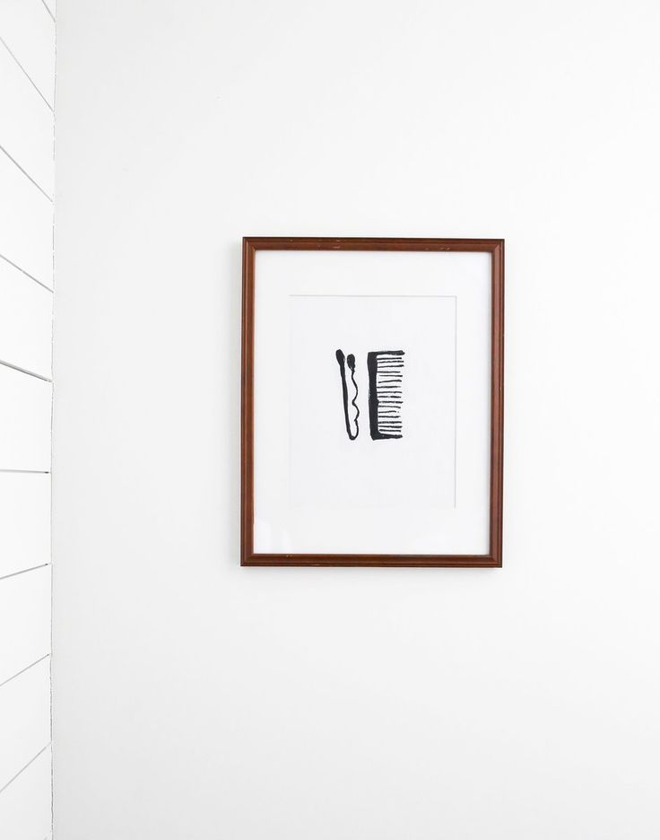 A hand drawn minimal black and white digital print of bathroom counter remnants—a bobby pin and comb. Oncepurchased, you will receive a link to download the fi