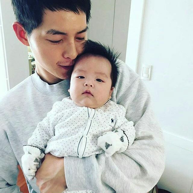 Song Joong Ki and his nephew, Song Shi Jin. His brother name his son after his brother's character in Descendents of the Sun.