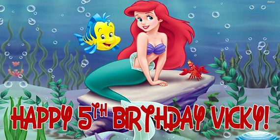 Little Mermaid Personalized Birthday Banner/Backdrop