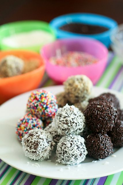 // Rum Balls. Love the condensed milk, wheat bix with Bundaberg rum; version.