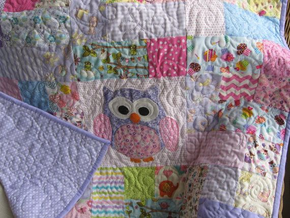 LOVE the subtle colors in this quilt! ready to ship Handmade pink and purple owl quilt by quiltcountry