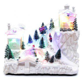 Villaggio natalizio con funivia 30x30x15 cm