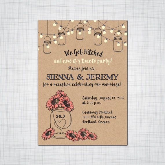 Rustic Mason Jar Elopement Reception Invitation Suite, Wedding Reception Invitation, Response Postcards,Event Invitation, Party Invitation