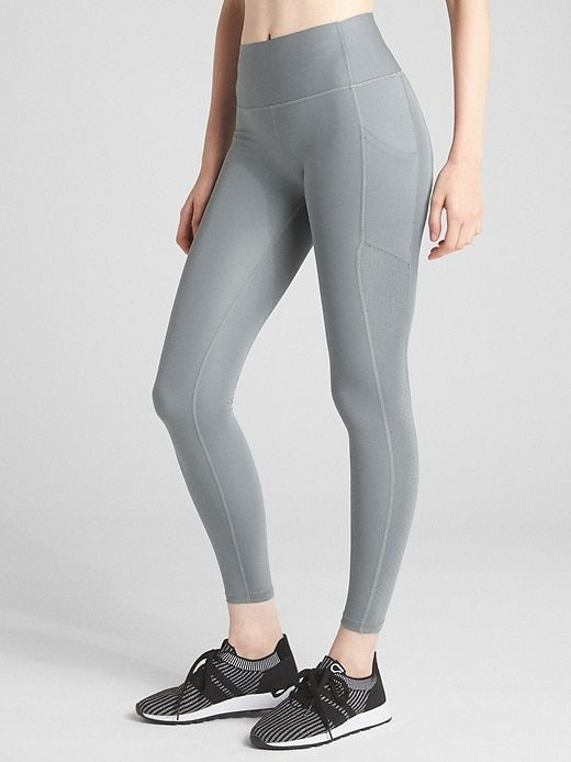 5984953f799e7 Gap Womens Gfast High Rise Perforated Panel Leggings In Sculpt Revolution  Mercury Grey