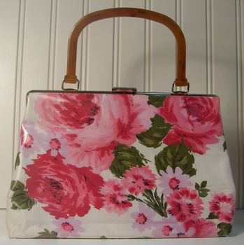 1950's Floral Cotton Challis with Tortoise Lucite Handle Vintage Handbag