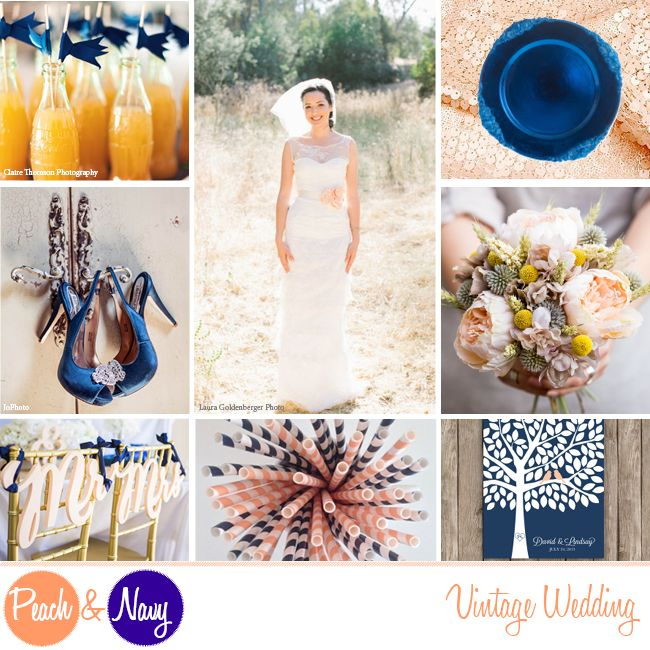 Navy Blue and Peach Vintage Wedding Ideas Inspiration Board #PeachWedding #NavyWedding {Peach and Navy Wedding Theme}