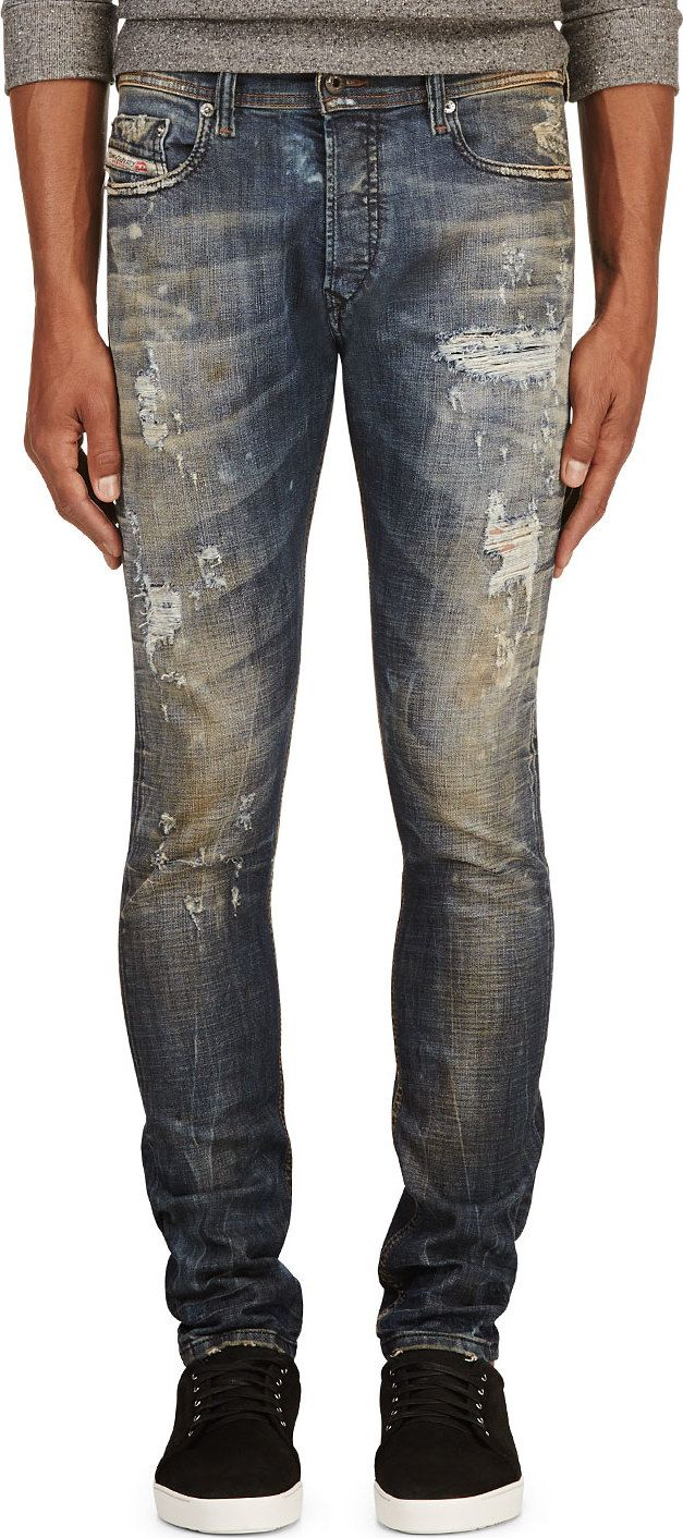 Diesel - Blue Distressed Tepphar L.32 Jeans
