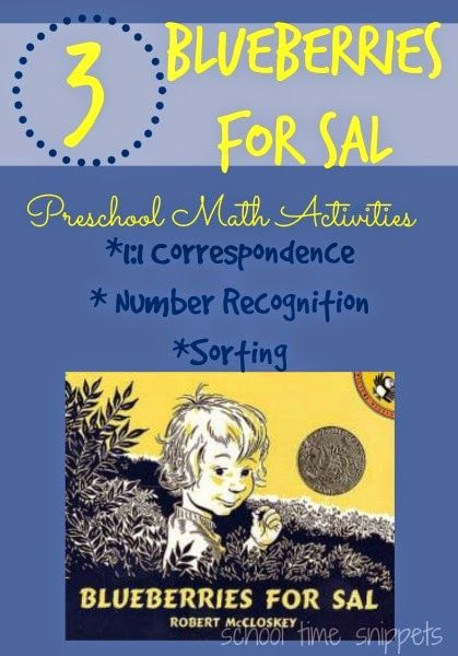 3 Blueberries for Sal Preschool Math Activities: 1:1 Correspondence, Number Recognition, and Sorting