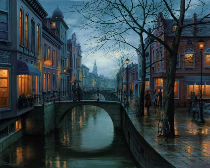 Rainy Morning, peinture par Evgeny Lushpin, 2013 #painting #city #environment