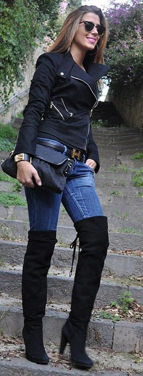 Hermes belt Thigh high swede boots...everything chic