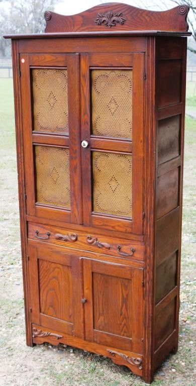 Late 19th C Oak Pie Safe With Punched Tin Panels Pinterest