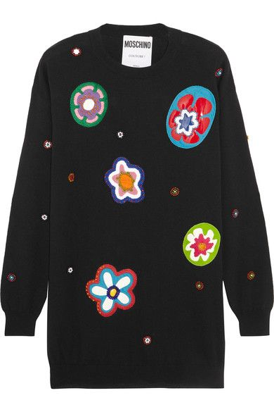 Moschino - Embellished Appliquéd Wool Mini Dress - Black - xx small