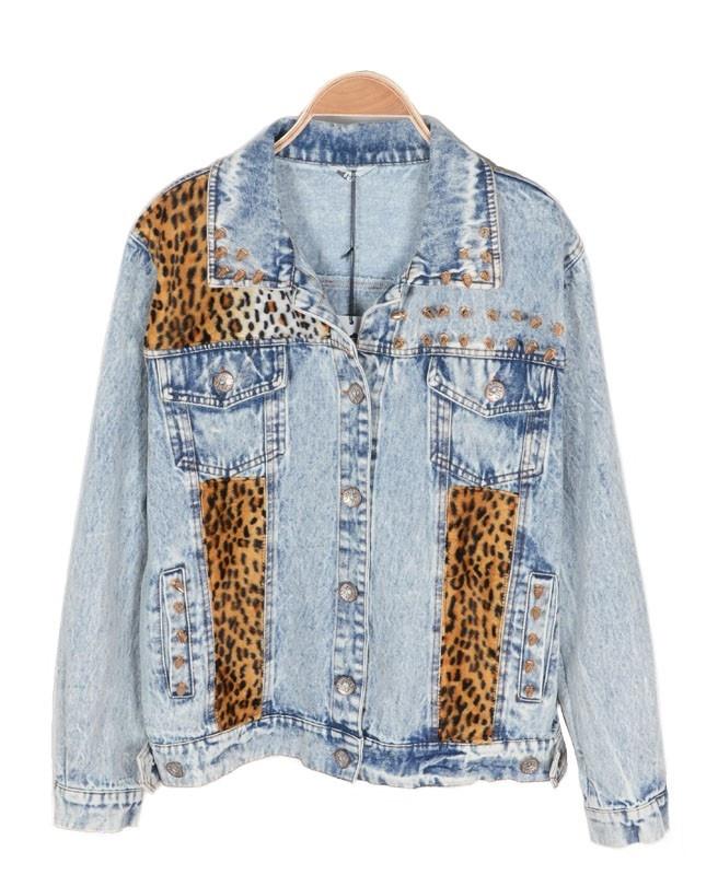 Denim Jacket with Stud Embellishment