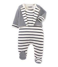 Ensemble bébé dors bien et cardigan beige Coquille / bleu Abysse - Petit Bateau