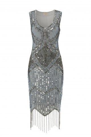 Grey Blue Vintage inspired 1920s vibe FlapperGrey Blue Great Gatsby Beaded Charleston Sequin Art Deco Wedding Fringe Dress New Hand Made | USTrendy