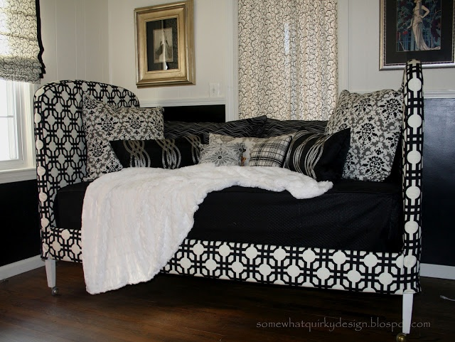 diy slipcovered daybed made by covering two matching twin headboards from craigslist