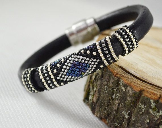 Dark blue Men braided bracelet strap bracelet for men black #BeadedBracelets #MensJewelry