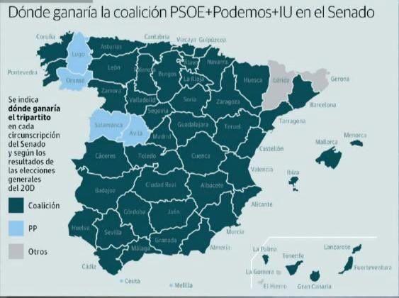 Pablo Iglesias (@Pablo_Iglesias_) twitteó a las 4:05 p. m. on mié, may 11, 2016: España se merece un Senado sin el PP bloqueando. Así sería si el PSOE se pone de acuerdo con nosotros