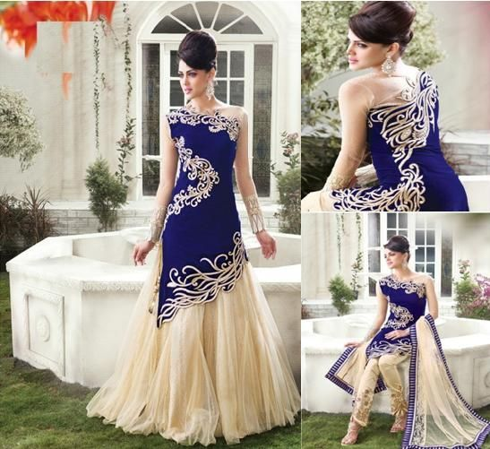 Blue And Cream Net Silk Anarkali suit @ Offer Price Rs.8,246.00 Free Shipping & COD Available.