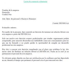 Carta renuncia voluntaria modelo