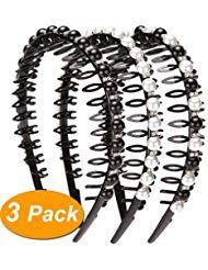 Lonedy Haarband modisch mit Kunstperlen und Strasssteinen rutschfeste Zähne Haa …
