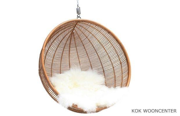 HK Living hangstoel Ball Rotan
