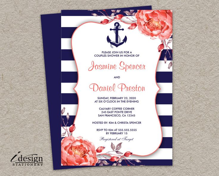 Nautical Couples Shower Invitation | Printable Navy Blue And Coral Wedding Shower Invitations | Floral Stripe Bridal Shower Invites by iDesignStationery on Etsy