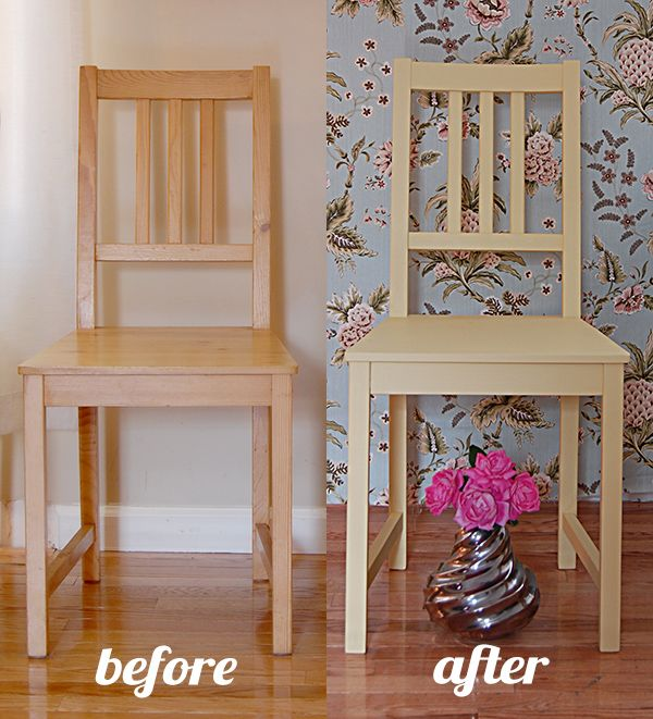 How to paint wood chairs with (almost!) no sanding!  These IKEA chairs went from drab to fab!