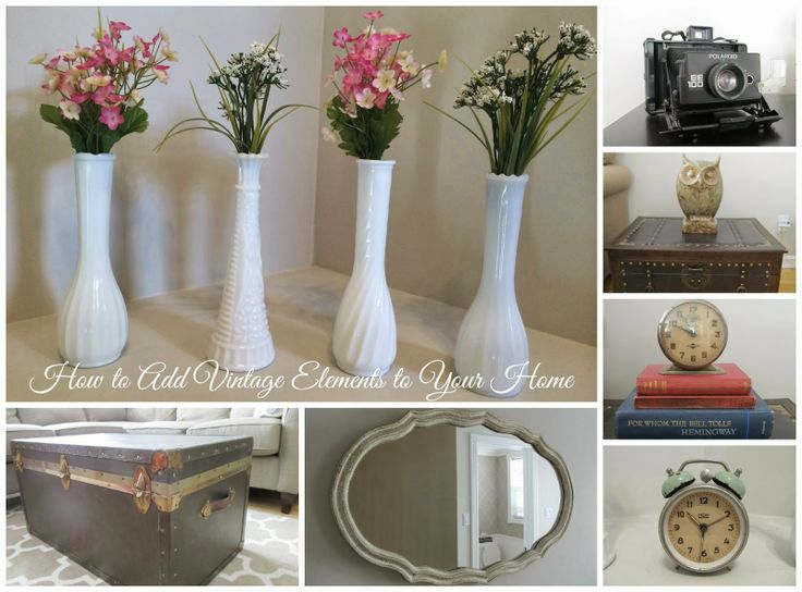 How to Add Vintage Elements to Your Home - Milk Glass // Trunks // Mirrors// Cameras // Clocks // Books