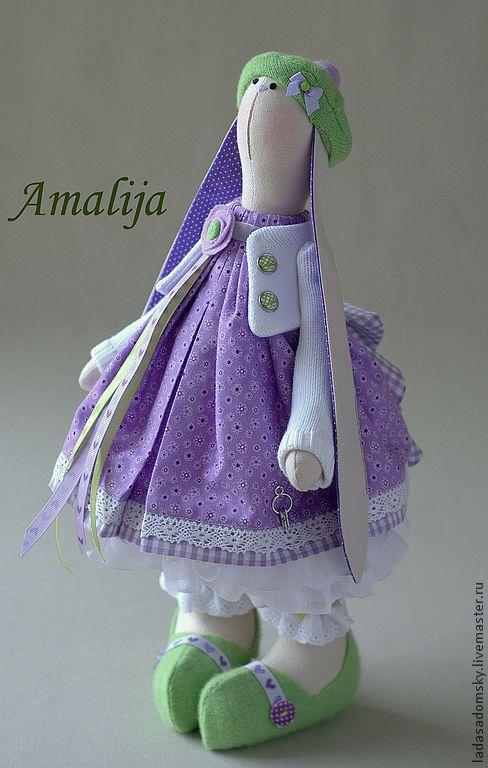 Купить Зайка весенняя Amalija -39 см - сиреневый, лавандовый, лаванда, зайка девочка