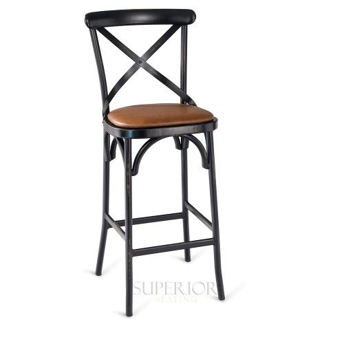 Antique-Look Metal Cross-Back Commercial Bar Stool with Upholstered Seat