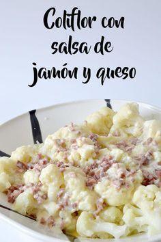 Coliflor con salsa de jamón y queso