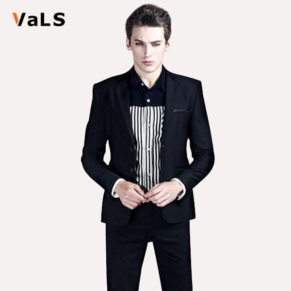 Мода пиджак мужчины : модной свободного покроя Slim Fit мужской пиджак куртка для бизнес свадьба, Черный и синий мужской костюм