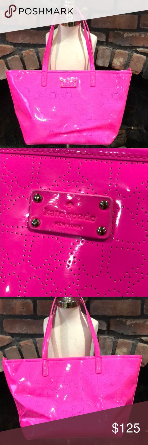 Kate SpadeSmall Harmony Metro Spade Pinksaphre bag Kate SpadeSmall Harmony Metro Spade Pinksaphre bag.  Beautiful fun pink bag with heart shaped print.  Gently carried and cared for.  Lining is spotless.  Minor scuff at bottom of bag as shown in pictures. kate spade Bags Shoulder Bags
