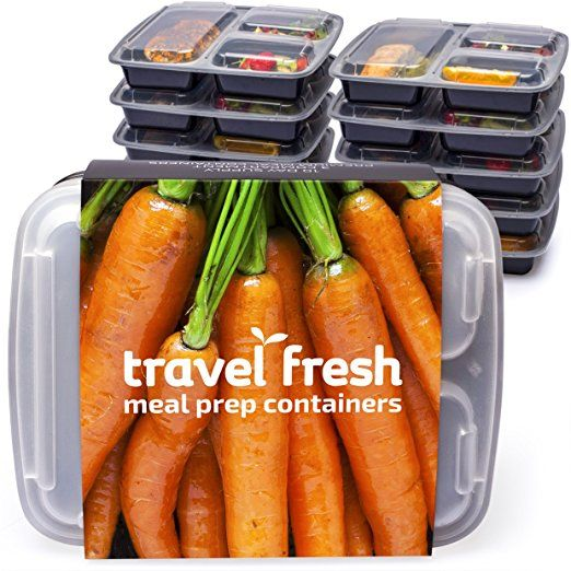 [10 pack] Travel Fresh premium 3-Compartment meal prep food storage containers with free Recipe Subscription | Microwavable, stackable, dishwasher safe BPA-free bento lunch boxes with lids and plate dividers