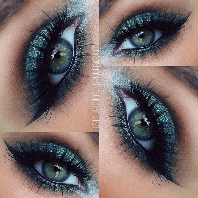 glittery blue/green smokey eye makeup by @heidimakeupartist | the warm brown transition color compliments her eye color beautifully :)