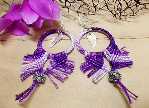"Earrings with threads using the technique of ""Sfakia knots""-Chania-Sfakia-Crete-Greece"