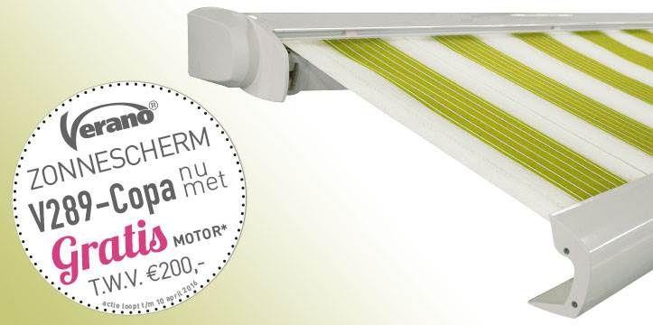 Het Copa zonnescherm van Verano is één van de top schermen uit het Verano® zonneschermen assortiment. Het Copa zonnescherm van Verano is een compact cassettescherm met een slank gelijnde voorlijst en bovenkap. Ook is het Copa zonnescherm van Verano ideaal bij plafond montage. Bij het Copa zonnescherm van Verano is als het scherm geheel geopend is oprolbuis niet zichtbaar. https://www.markantzonwering.nl/verano-copa-knikarmscherm
