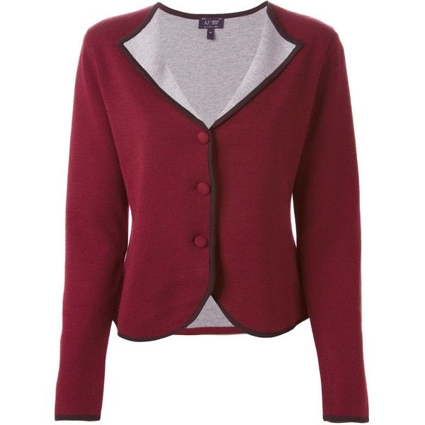 Armani Jeans Contrasting Lapel Cardigan ($381) ❤ liked on Polyvore featuring tops, cardigans, red, red cardigan, red top and armani jeans