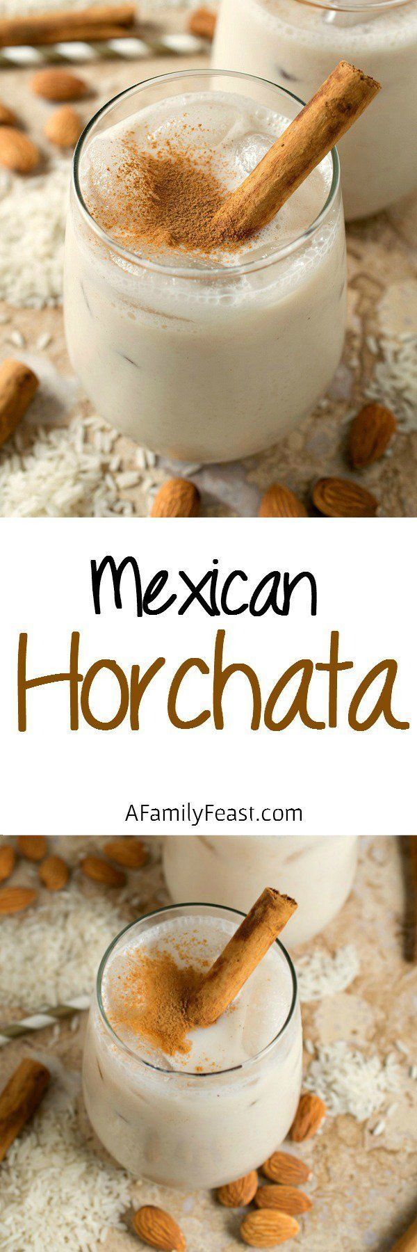 Horchata - A refreshing and lightly sweet Mexican rice and almond beverage flavored with cinnamon. Delicious!