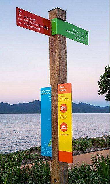 Love the color in this wayfinding signage for Cardwell More