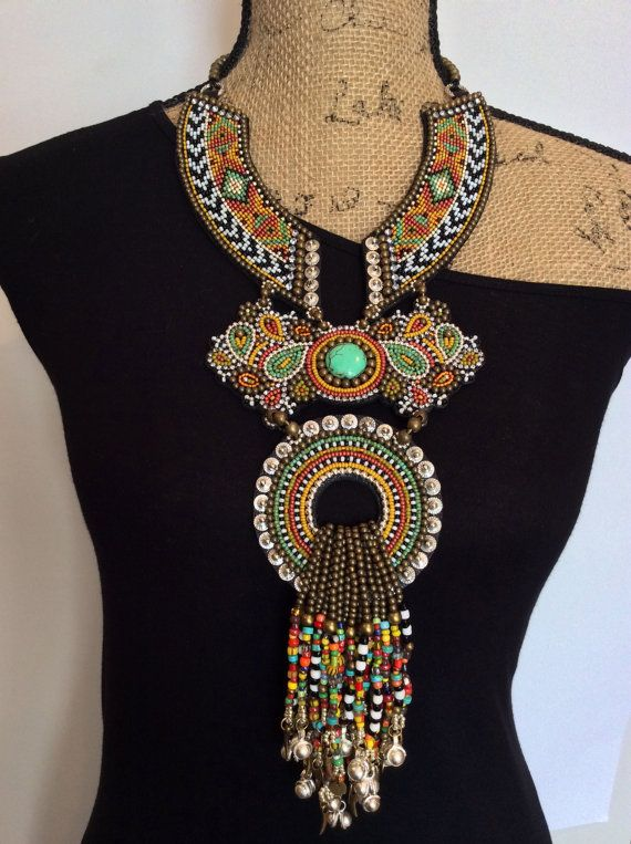 Bead Embroidery Necklace with African Trade Beads by perlinibella