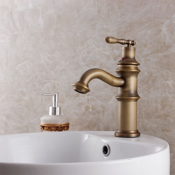 2015 Promotion <2kg Brass Tap Faucets Antique Copper Bathroom Basin Counter Hot And Cold Faucet Fashion Retro Vintage Finishing  #Affiliate